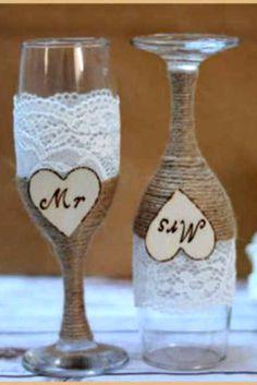 Wedding Glasses Champagne Flutes Burlap Glasses Rustic Toasting Glasses from HappyWeddingArt on Etsy. Wedding Crafts, Diy Wedding, Rustic Wedding, Dream Wedding, Burlap Wedding Decorations, Wedding Ideas, Table Wedding, Wedding Receptions, Wedding Champagne Flutes