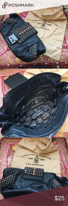 Christian Audigier Clutch purse Black Faux Croc skin with Studs!  Comes with the duster. Snaps closure, 2 small inner pockets and one inner zip pocket.  12 inches wide and 6 inches deep. Christian Audigier Bags Clutches & Wristlets
