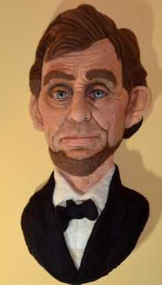ABRAHAM LINCOLN Needle Felted wall hanging by by RichardHannaFelt