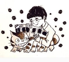 This heartwarming doodle of the Catbus: | 23 Of The Most Gorgeous Pieces Of Miyazaki Fan Art