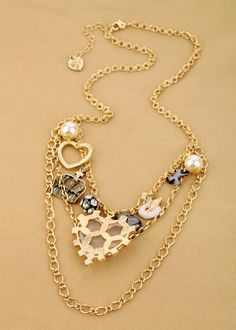 Simple Gold Alloy Chain Necklace With Nice Artificial Gemstone $11.98