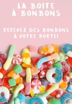 Si vous aimez les bonbons, c'est la boite qu'il vous faut! Recevoir des bonbons directement à sa porte, c'est un beau luxe à se payer! #bonbon #bonbons #candy #boite #boitemensuelle #abonnement #jujubes #plaisir #joie #bonheur #rose Food And Drink, Menu, Sweets, Candy, Coups, Orange Yellow, Promotion, Beautiful, Candy Bars