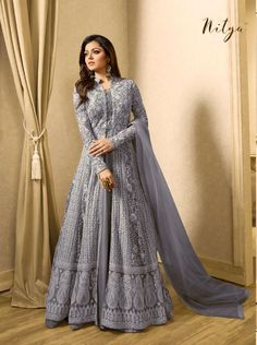 Drashti Dhami Grey Embroidered Georgette Net Anarkali Suit