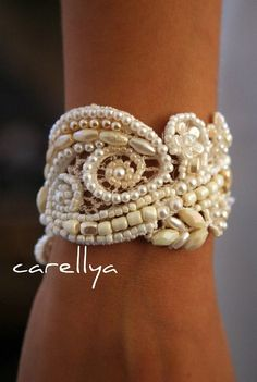 Beaded Pearls Bracelet  Vintage Lace Beaded Cuff   by carellya, $95.00