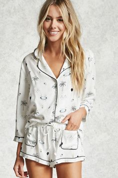 These graphic black and white palm tree PJs are only $23!