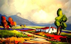 Artwork of Carla Bosch exhibited at Robertson Art Gallery. Original art of more than 60 top South African Artists - Since Landscape Artwork, Abstract Landscape Painting, Artist Painting, Protea Art, South African Artists, Fauvism, Art For Art Sake, Cool Paintings, Windmill