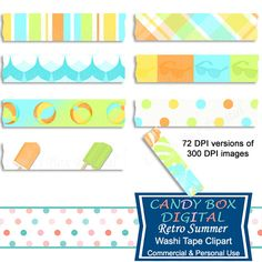 Retro Summer Beach Digital Washi Tape Clipart by CandyBoxDigital. Beachballs, ice cream bars, waves, sunglasses, tropical leaves. Great for digital scrapbooks and journals, blogs and websites. At our Etsy shop.