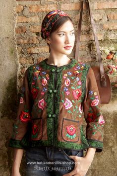 Batik Amarillis's folklore 2014 vol 2 splendid brown corduroy Hungarian embrodery jacket with Tenun batik gedog Tuban of Indonesia accented with unique wooden buttons ..enjoy our beautiful ethnic inspired collection and spectacular Hungarian folk art embroidery..