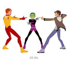 """BandBangBang"" - Kid Flash, Beast Boy and Lance - by aer-dna - Voltron / Teen Titans / Young Justice"