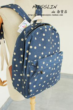 Polka dot canvas shoulder bag