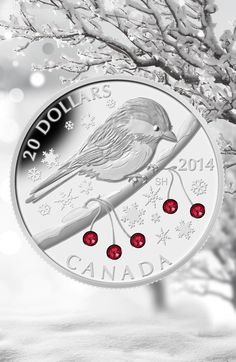 Fine Silver Coin - Chickadee with Swarovski™ Winter Berry Elements - Canadian Coins, Gold And Silver Coins, Silver Bullion, Coin Collecting, Postage Stamps, Art Pieces, Necklaces, Collections, Jewels