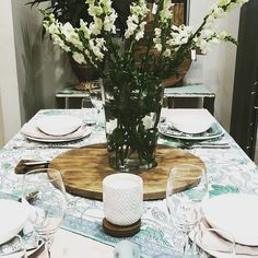 Table Setting by Linen & Moore Concept featuring the Zen Moments Spring Range Candle in White Ceramic