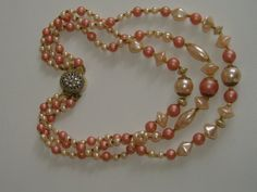 1950s PINK NECKLACE by allthingsvintage77 on Etsy