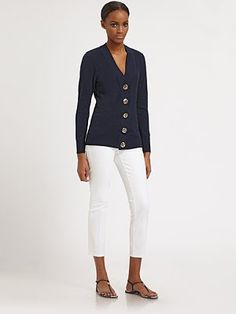 Tory Burch  Simone Shrunken Cardigan. The Tory Burch cardigans are beautiful classics that will stand the tests of time and carry over from season to season.
