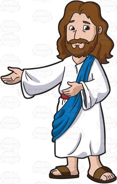 Jesus Christ Being Happy And Accommodating:  Cartoon image of Jesus Christ with long brown hair beard and mustache wearing a white robe and brown sandals as well as a blue sash looking happy and nice lifts his right hand to his side to usher directions  The post Jesus Christ Being Happy And Accommodating appeared first on VectorToons.com.  #men #male #man #clipart #cartoon #vectortoons #illustration