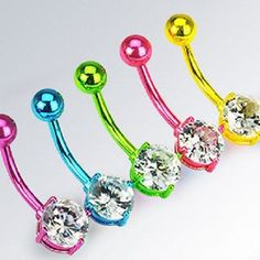 Neon Cz Circle Titanium Anodized Belly Bar Navel Piercing S/Steel Belly Button Piercing Jewelry, Bellybutton Piercings, Piercing Ring, Body Piercing, Tongue Piercings, Button Jewellery, Cartilage Piercings, Piercing Ideas, Cute Belly Rings