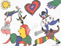 Niki de Saint Phalle Jean Tinguely, French Sculptor, Art Party, Disney Characters, Fictional Characters, Snoopy, Kids Rugs, Drawings, Illustration