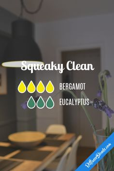 Squeaky Clean Diffuser Blend with bergamot and eucalyptus Essential Oil Scents, Essential Oil Diffuser Blends, Essential Oil Uses, Natural Essential Oils, Doterra Diffuser, Aroma Diffuser, Diffuser Recipes, Doterra Essential Oils, Young Living