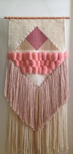 Lion Brand Yarn - Beautiful way to use yarn in the summer! Weaving Wall Hanging, Weaving Art, Weaving Patterns, Tapestry Weaving, Loom Weaving, Hanging Tapestry, Hanging Wall Art, Hand Weaving, Wall Hangings