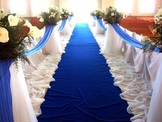 ideas and inspirations on blue wedding decorations wedwebtalks - Church Wedding Colors Aisle Decorations Wedding Ceremony Ideas, Church Wedding Decorations, Wedding Themes, Aisle Decorations, Wedding Reception, Wedding Photos, Royal Blue Wedding Decorations, Wedding Walkway, Themed Weddings