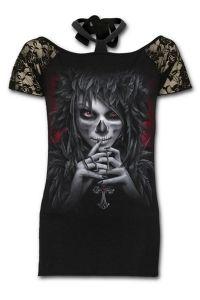 Spiral - T-Shirt mit Netz & Halsband - Day of the Goth
