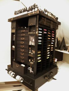 Tim Holtz Carousel storage tower - Anne is an amazing crafter! If you aren't following her already, you are missing someone who makes spectacular projects. This is made from chipboard and it's huge! Just look at all the Tim Holtz goodies she was able to store!