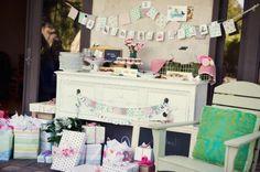 G is for Girl Vintage Schoolhouse girl baby shower dessert table
