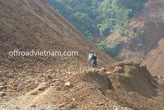 Road under construction after a landslide in Ha Giang province.