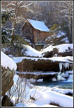 Winter at Glade Creek Grist Mill
