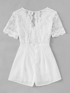 Material: Lace, Polyester Color: White Pattern Type: Plain Neckline: V neck Style: Sexy, Vacation, Elegant Sleeve Length: Short Sleeve Fabric: Fabric has no stretch Season: Summer Shoulder(Cm): Bust(Cm): Waist Size(Cm): Hip Size(Cm): Girls Fashion Clothes, Teen Fashion, Fashion Dresses, Summer Outfits, Cute Outfits, Summer Dresses, Mode Rock, Mein Style, Casual Wear