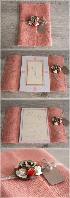 Lovely Colors // Restyling our Classical Beauty wedding invitation by covering with salmon pink burlap and adding colorful flowers for our bride&groom Asli&Alpay /// Aslı&Alpay için Classical Beauty modelimizi renkli çuval kumaşa sarıp çiçeklerle süsledik. Aslı&Alpay'a sonsuz mutluluklar diliyoruz. C.B. with Burlap, model no:D1013 bilgi&siparis icin: www.lovelycolors.com.tr