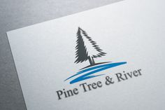 Pine Tree and River Logo Template by Heavtryq Design on @creativemarket