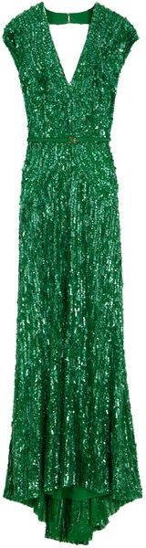 Elie Saab Cap Sleeve Vneck Beaded Dress in Green