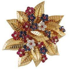 Van Cleef & Arpels Ruby Sapphire Diamond Gold Flower Brooch