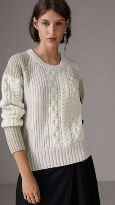 Colour Block Fair Isle and Cable Knit Wool Cashmere Sweater in Ivory - Women | Burberry United States