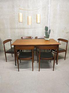 Mid century vintage design Deense eetkamer set, Danish vintage dining set   www.bestwelhip.nl
