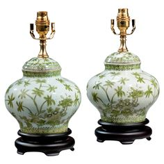 Pair of Clobbered Porcelain Vase Lamps   From a unique collection of antique and modern table lamps at https://www.1stdibs.com/furniture/lighting/table-lamps/