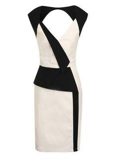 Cream and black contrast dress - View All Dresses  - Dresses