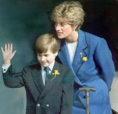 Diana and William on St. David's day in Wales 1991