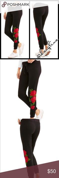 Cute and cozy joggers Drawstring elastic waist band Ribbed cuffs and waist  Floral design on left leg French terry fabric 60% cotton, 40% polyester S(4-6)M(8-10)L(12-14)XL(16) Joggers style  Flexible band and cuffs for extra comfort  Black Full length joggers ✨actual pants modeled size small✨ Available in matching hooded sweater and many colors @danglina Pants Track Pants & Joggers