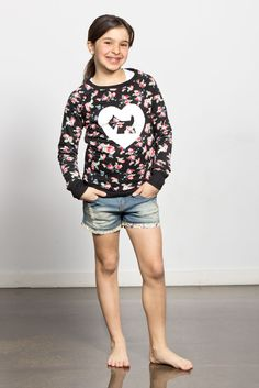 Check out our new 2015 spring collection! Floral prints and scottie love <3 You'll be so comfy you'll never take it off. Enjoy! Long sleeve flower top, denim shorts, floral prints, Joshua Perets, girls, teens, tweens, ladies