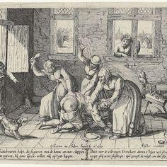 1610 - Man krijgt slaag van drie vrouwen, Salomon Savery, Claes Jansz. Visscher (II),  Rijksmuseum