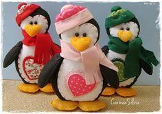 Pinguim em feltro de natal com molde; penguin felt christmas - 1