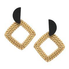5cceb8932fb1 Wood Half Disc Top With Rhombus Straw Hoop Earrings