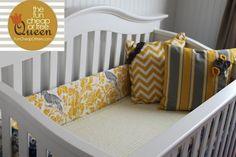 The Fun Cheap or Free Queen: Yellow & Gray Nursery tutorials: DIY Custom crib bumper using old bumper from thrift store/yard sale