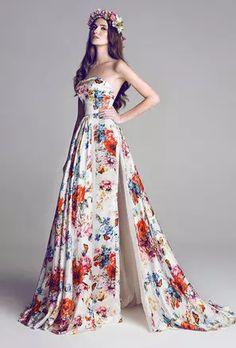 strapless bright floral wedding dress