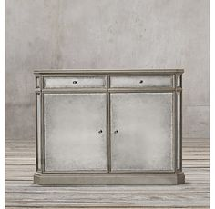 1930s French Mirrored Double-Door Glass Sideboard
