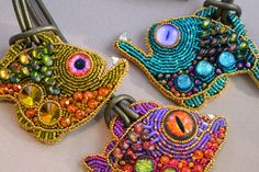 The most fabulous beaded embroidery by Kinga Nichols. Bead Embroidery Jewelry, Beaded Embroidery, Beaded Jewelry, Jewellery, Embroidery Ideas, Embroidery Stitches, Fine Jewelry, Beaded Brooch, Crochet Earrings