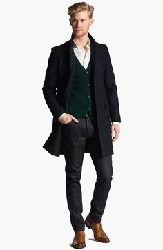 AMI Overcoat, Cardigan, Sport Shirt & Slim Fit Jeans  available at #Nordstrom