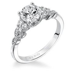 Shop online ARTCARVED 31-V309ERW-E Side Stone White Gold Diamond Engagement Ring at Arthur's Jewelers. Free Shipping